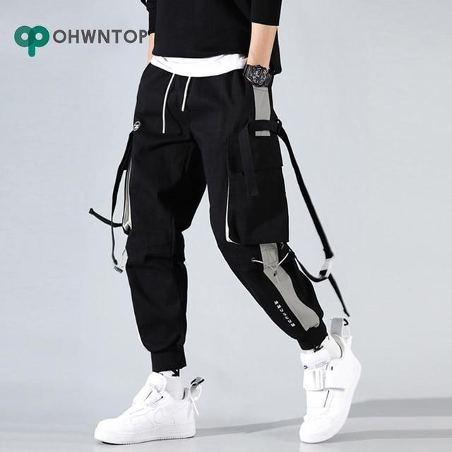 Men Cargo Harem Jogger Pants Men Hip Hop Fashion Casual Track Trousers Streetwear Harajuku Hipster Ribbon Pockets Sweatpants Men 1