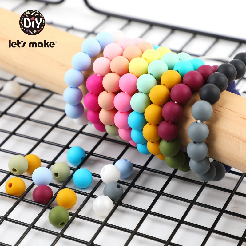 9mm 50pc Silicone Beads Round Baby Teether Eco-friendly BPA Free Baby Teething Pacifier Chain Bead Tiny Perle Rod Let's Make
