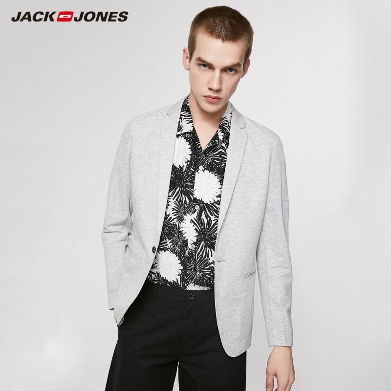 JackJones Men's Business Casual Slim Fit Cotton One-button Blazer Basic Menswear| 219208505