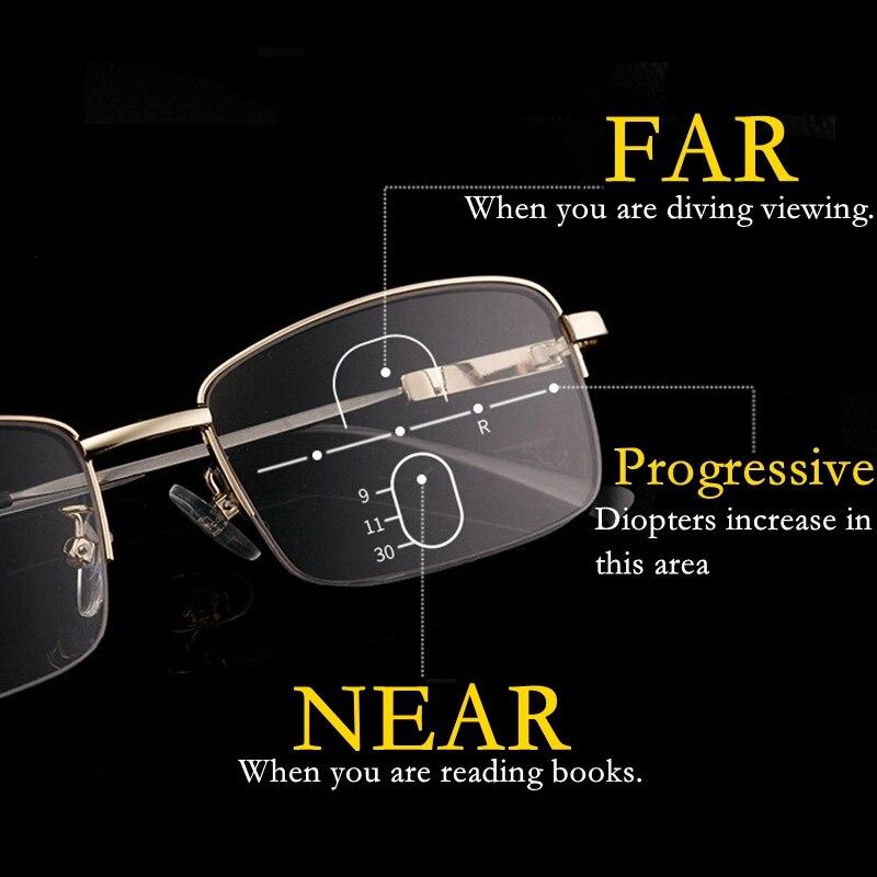 Titanium Half Frame Metal Progressive Reading Glasses Men Multifocal Anti Blue Light Presbyopic Glasses Alloy Women Gafas +1.5