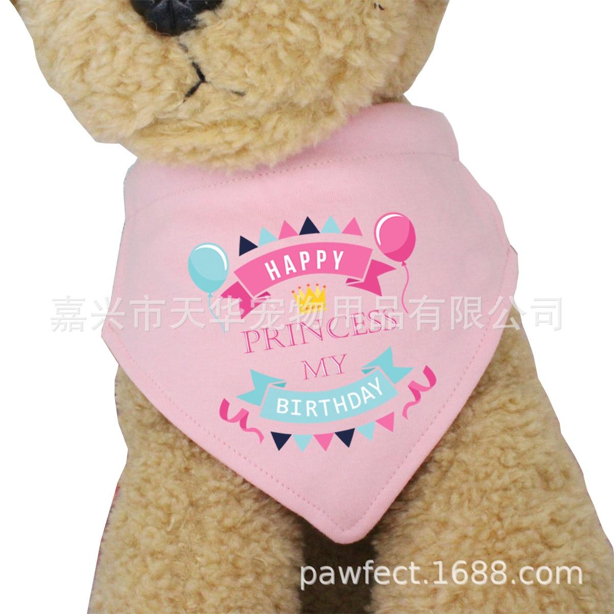 Pet Triangular Scarf Dog Birthday Pink Small Dogs Bibs Neckerchief Cat Scarf Neck Ring