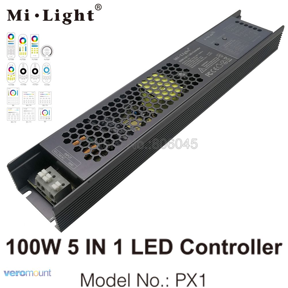 MiLight 100W 5 IN 1 LED Controller PX1 Built-in Power Supply 2.4G RF/WIFI APP Control For 24V DIM CCT RGB RGBW RGB+CCT LED Strip