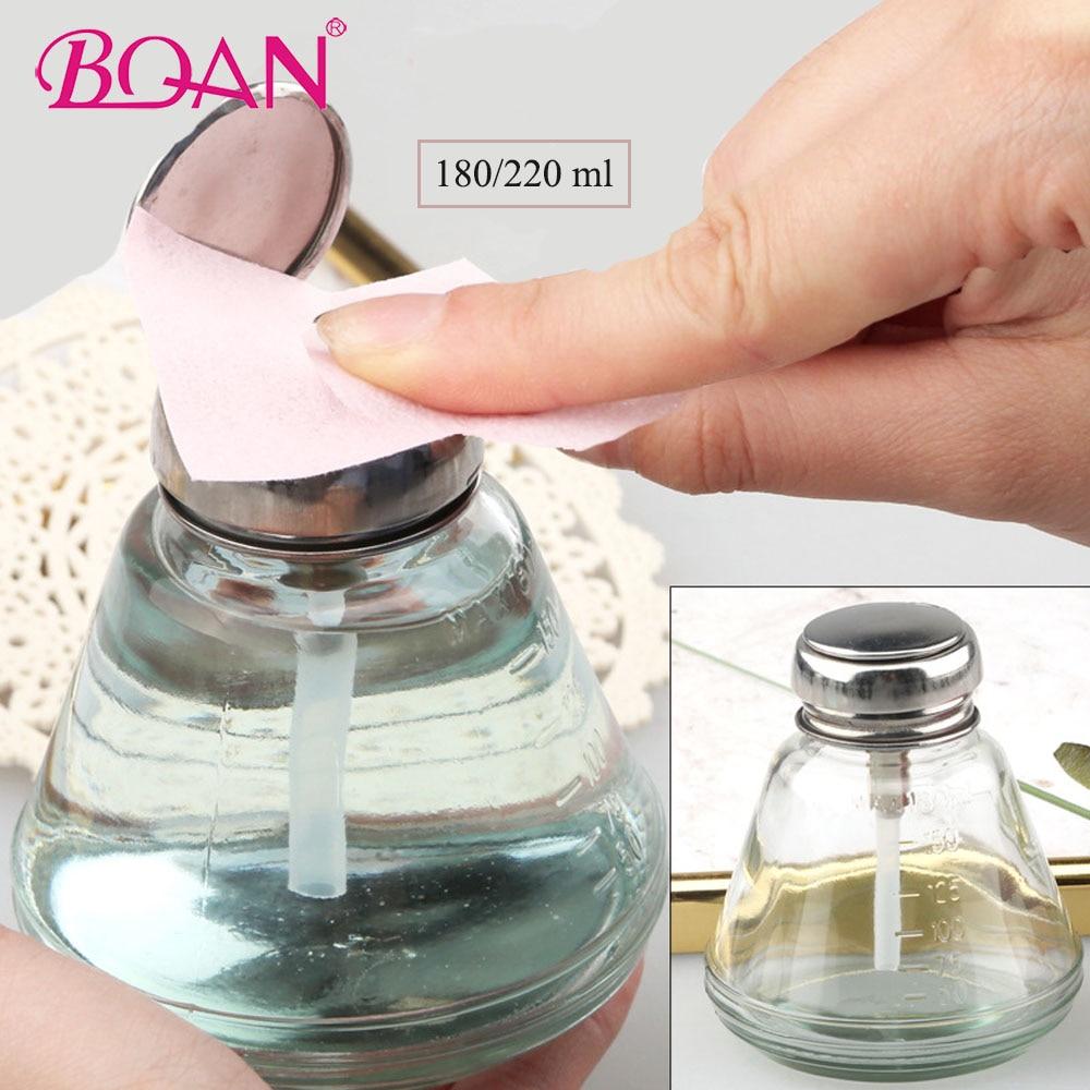 180/220 Ml Portable Nail Art Liquid Press UV Gel Cleaner Remover Storage Bottle Alcohol Pump Container Manicure Art Glass Bottle