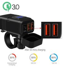 цена на Motorcycle Quick Charger 12V SAE to USB Adapter with Voltmeter On Off Switch Motorcycle car usb adapter fast charging Dual USB