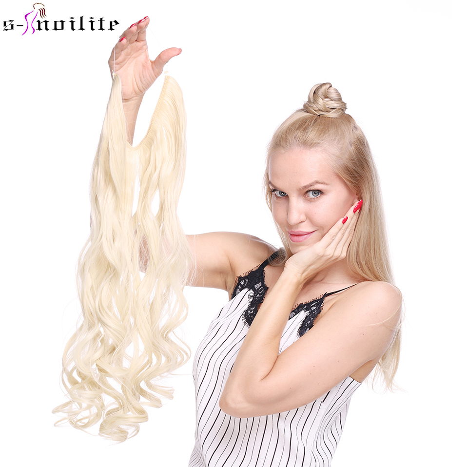 SNOILITE 24'' Synthetic Long Wavy Wire Secret Fish Line Hair Extension Women Black Brown Invisible Glueless One Piece Hairpiece