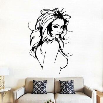 Calcomanías de pared sexis desnudas para mujer, para pared calcomanía de vinilo, calcomanía de Manga con chicas de Anime, pegatinas de decoración para dormitorio de hombre C057