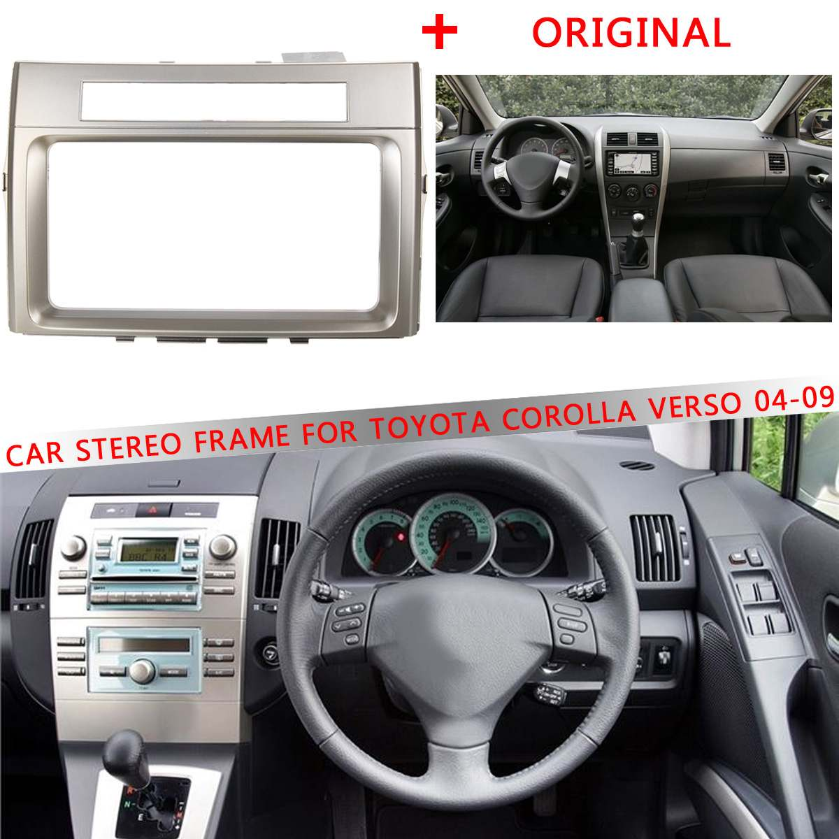 1 pièces voiture CD/DVD cadre stéréo garniture 2 DIN voiture pour TOYOTA Corolla Verso 2004 2005 2006 2007 2008 2009 kit de tableau de bord adaptateur