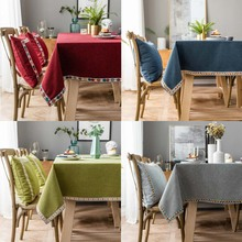New Plaid Decorative Linen Tablecloth Red Blue Green Coffee Waterproof Thicken Rectangular Mariage Dining  Tea Table Cloth Cover