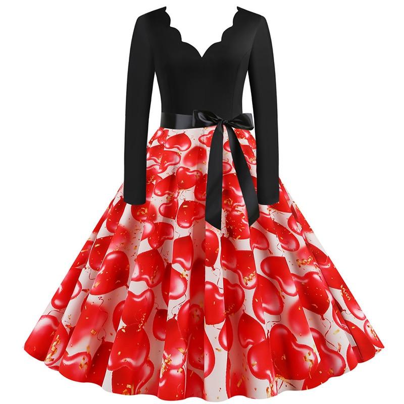 Women Long Sleeve Winter Vintage Dresses Sexy Black Music Note Print V-neck Rockabilly Pin up Party Dress Vestidos Plus size 637