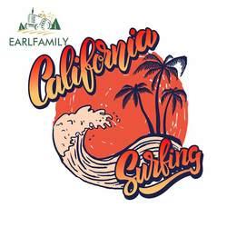 EARLFAMILY 13cm x 12.9cm for California Surf Rider Poster Template Camper Car Sticker Vinyl Body for Car 3D Vinyl Material Decal