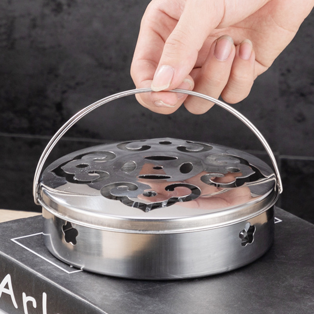 1PC Mosquito Coil Holder Stainless Steel Incense Burner Tray for Home Outdoor