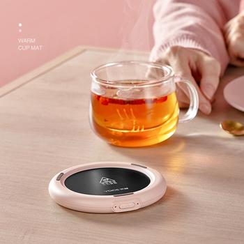 5V podgrzewacz kubka USB ładowanie inteligentne termostatyczne podgrzewacze gorącej herbaty ogrzewanie Coaster pulpit podgrzewacz do kawy herbata mleczna ciepła podstawka pod kubek tanie i dobre opinie kbxstart 750 w 220 v Water Heater Coaster 5V 2A 110*15mm no cup white pink