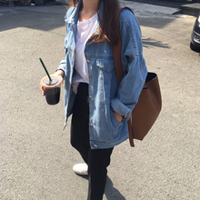 BF Стиль осенняя и зимняя женская джинсовая куртка винтажная Харадзюку Свободная Женская джинсовая куртка корейское консервативное пальто