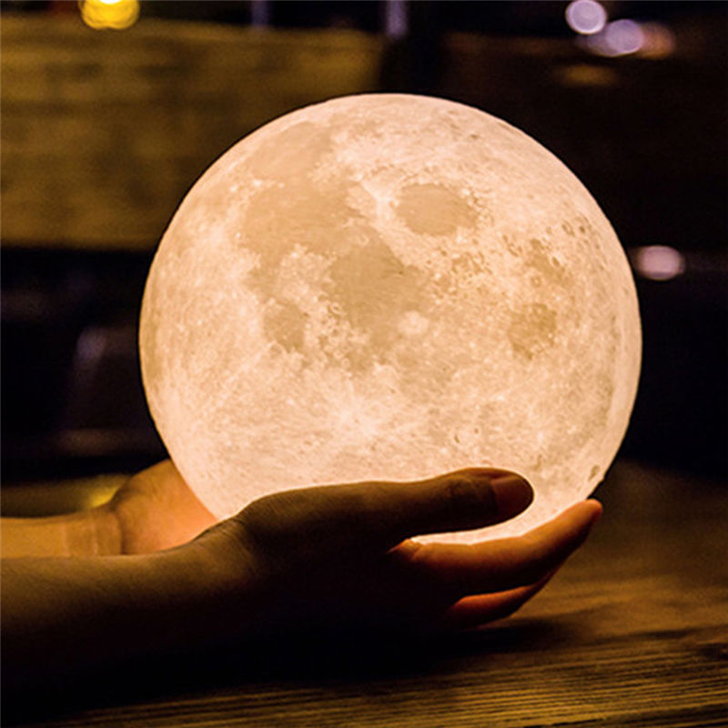 Creative Moonlight Night Light 3D Printing LED Moonlight 12/15/18cm Colorful Moon Lamp For NEW YEAR Gfit And Home Decoration