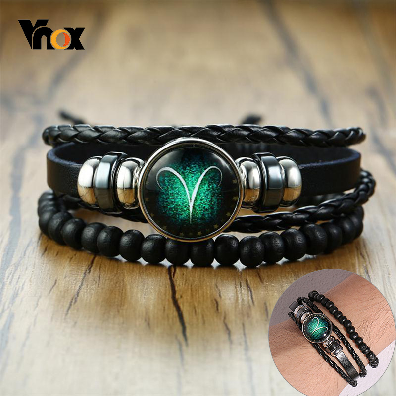 Vnox Aries 12 Horoscope Multi-layer Leather Rope Bracelets for Men Women Gifts Vintage pulseira Jewelry