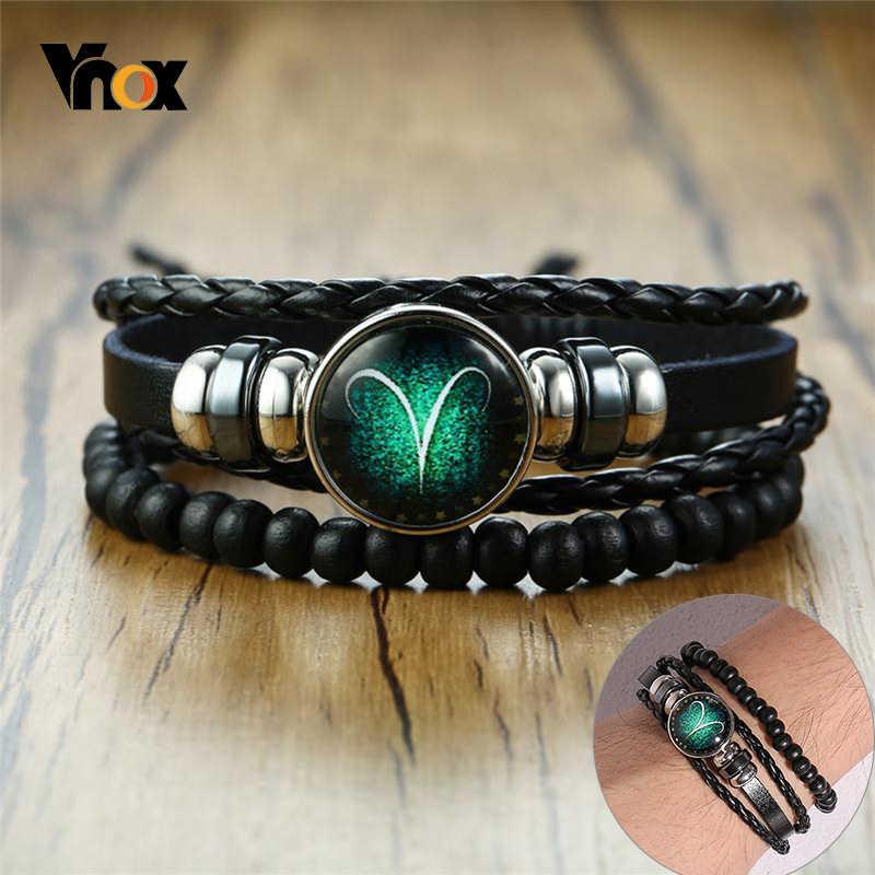 Vnox Aries 12 horoskop wielowarstwowa skórzana linka bransoletki dla kobiet mężczyzn prezenty Vintage biżuteria pulseira