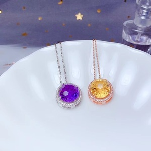 Image 5 - Amethyst and citrine Necklace 925 pure silver lady gem necklace fireworks cutting process