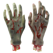 4 PCS Halloween Decoration Props Soft Rubber Scary Bloody Broken Body Parts Horror Severed Hands Feet Sets New
