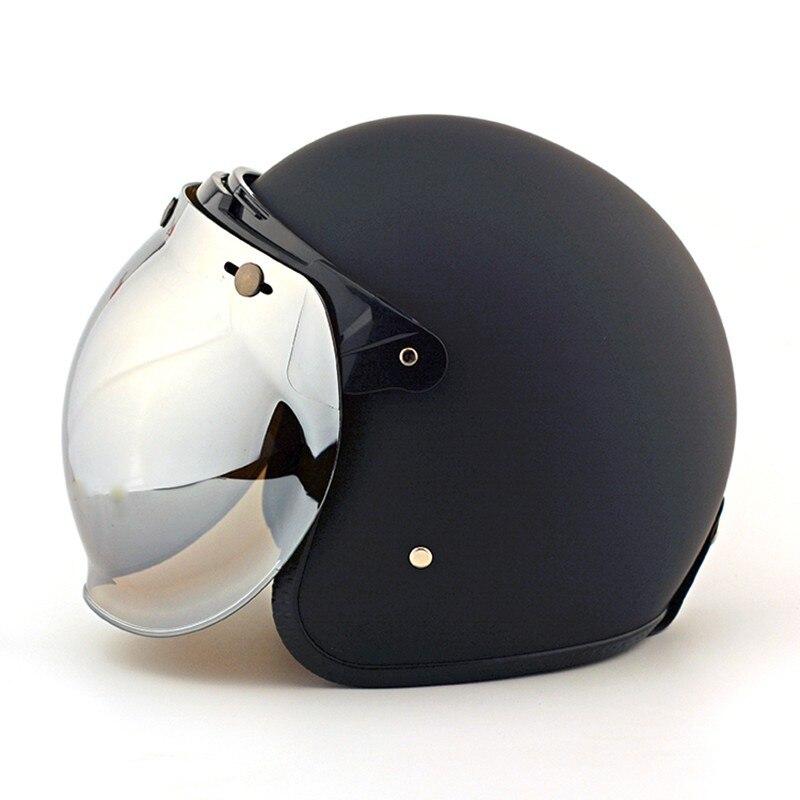 Casque Moto rétro Vintage bulle lentille Jet pilote casque visière Scooter Moto casques bulle visière lunettes