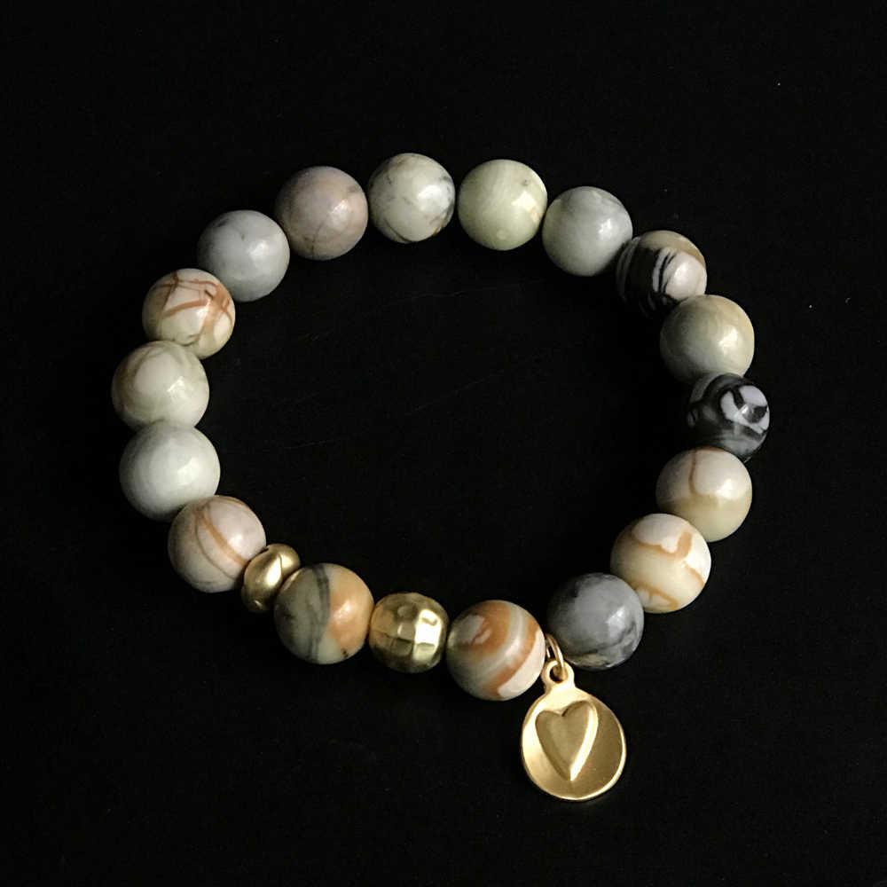 צמידי נשים צמיד גברים לב תליון 10mm חרוזים טבעי אבן צמיד זוג צמידי homme זהב 2019 גברים אבן