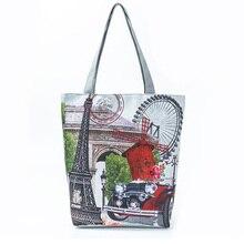 Eiffel Tower Printed Womens Ferris Wheel Dutch Windmill Shoulder Bag H66
