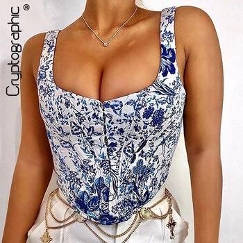 Cryptographic Mujer Tops verano 2020 azul y blanco porcelana chaleco cuadrado Collar Slim Short Tank Top oculto pecho cremallera Tops