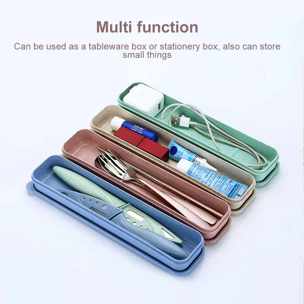 1PCs Multifunction Stainless Steel Cutlery Portable Box Case Picnic Outdoor Travel Camping Usage Cute Stationery Box For School