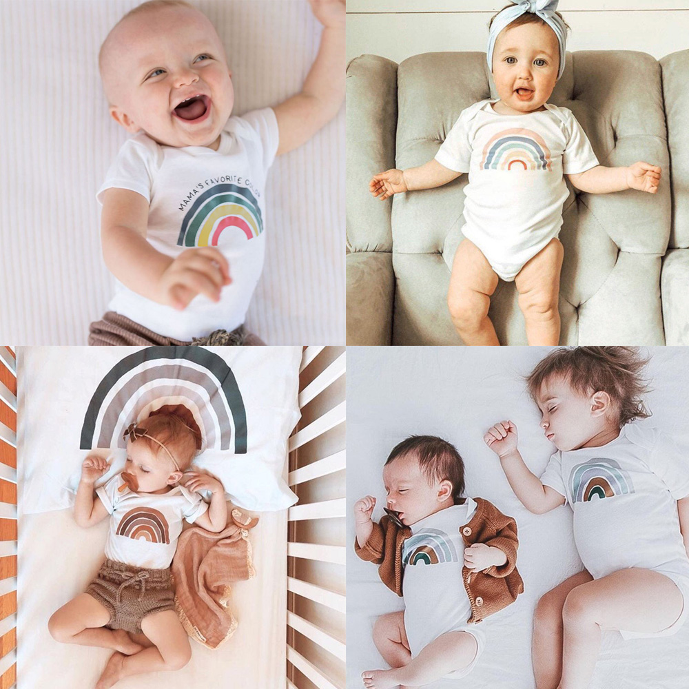 Rainbow Baby Bodysuit Baby Summer Short Sleeve Shirt Rainbow Gift New Baby Boys Girls Shower Present Casual Jumpsuit Onesie