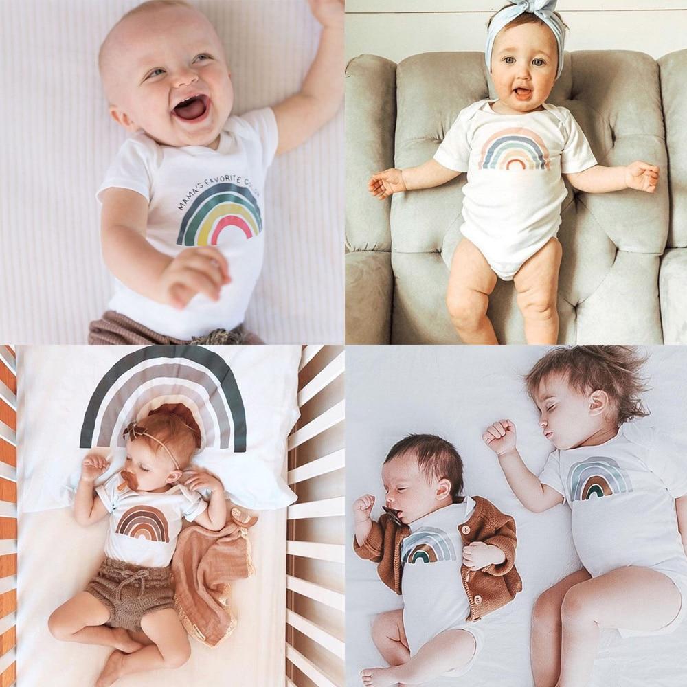Rainbow Baby Bodysuit Baby Summer Short Sleeve Shirt Rainbow Gift New Baby Boys Girls Shower Present Casual Jumpsuit Onesie