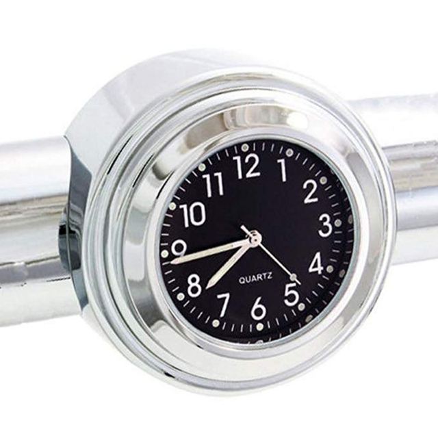 """Universal Waterproof 7/8 """"Motorcycle Handlebar Black/White Dial Clock Thermometer Motorcycles Accessories 5"""