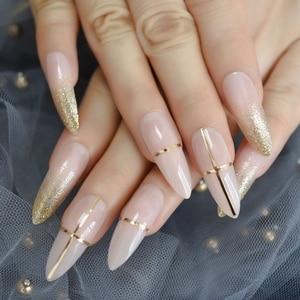 Luxury False Nails Nude Gold Glitter Golden Line Decoration Extra Long Fake Nails Stiletto Pigment Designer Handmade Tips(China)