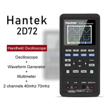 Handheld osciloscópio digital hantek 2d72 2d42 3in 1 novo multímetro testador gerador de forma de onda usb portátil 2 canais 70mhz