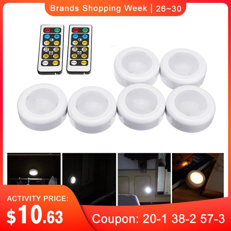 CLAITE 6pcs LEVOU Gabinete Luzes Roupeiro com 2pcs Controladores Remotos Bateria Tempo de Energia Pode Ser Escurecido