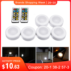 CLAITE 6pcs LED Cabinet Wardrobe Lights with 2pcs Remote Controllers Battery Power Dimmable Timing