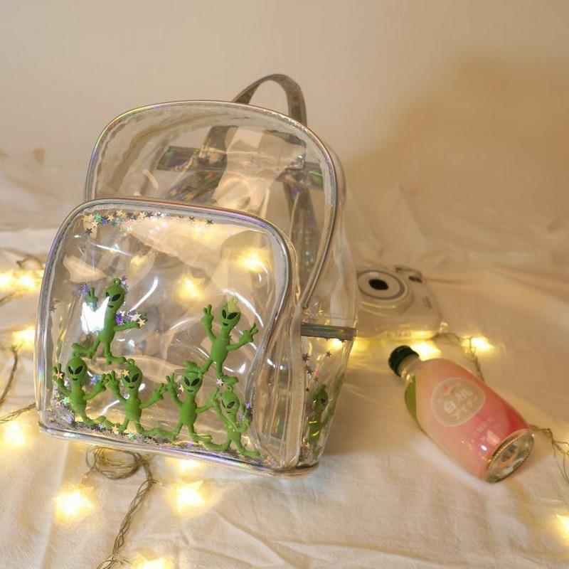 Unique Alien Transparent PVC Backpack Clear Waterproof Women Back Pack Harajuku Schoolbag For Teen Girls Casual Bag Star Bag