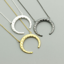 цена на Black Color Chic Crescent Moon Pendant Necklace For Women Stainless Steel Buffalo Horn Ox Choker Colar Punk Jewelry