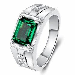 Bague en cristal classique pour hommes, pierres précieuses, saphir émeraude, zircon, bijoux couleur argent, argent