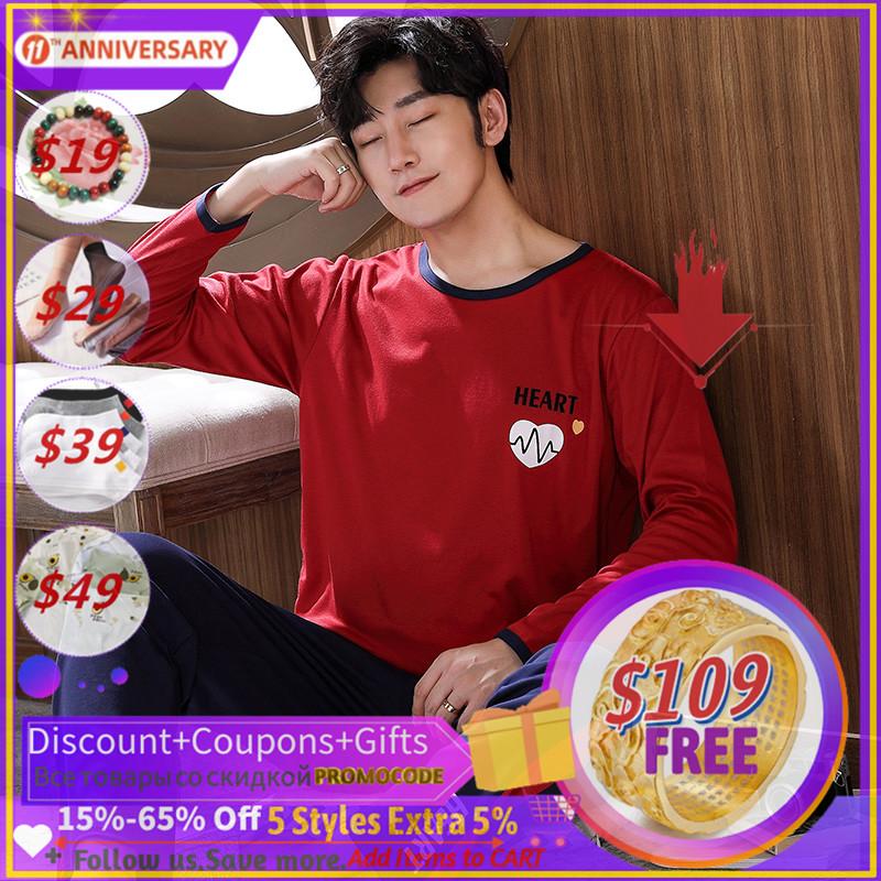 Autumn Winter Knitted Cotton Cartoon Men's Pyjamas Striped Pajamas Set Casual Male Sleepwear Pyjama Night Pijamas 3XL Homewear