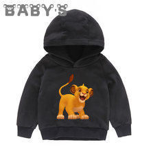 Lion King 4 Colors Fashion Baby Boys Girls Long Sleeve Sweatshirts Cotton Hoodies Simba Print Kids Blouse Autumn Clothes,KMT5315(China)