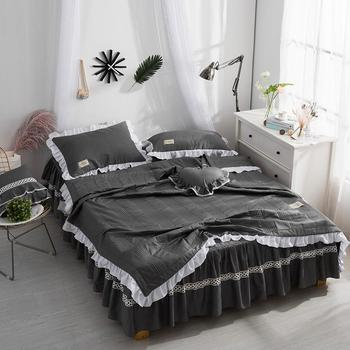 New 3Pcs Luxury Cotton Throw Blanket Bedspread 150x200cm white,pink,gray,blue Bed Bedsheet Pillowcase