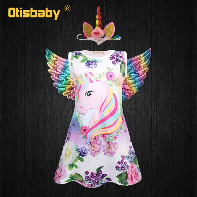 Новый год для девочек; платье принцессы с цветочным рисунком Единорог для вечеринки платье Головные уборы с «крыльями ангела» Костюм для Рождества и Хэллоуина ребенок Радуга Lol платье для девочек