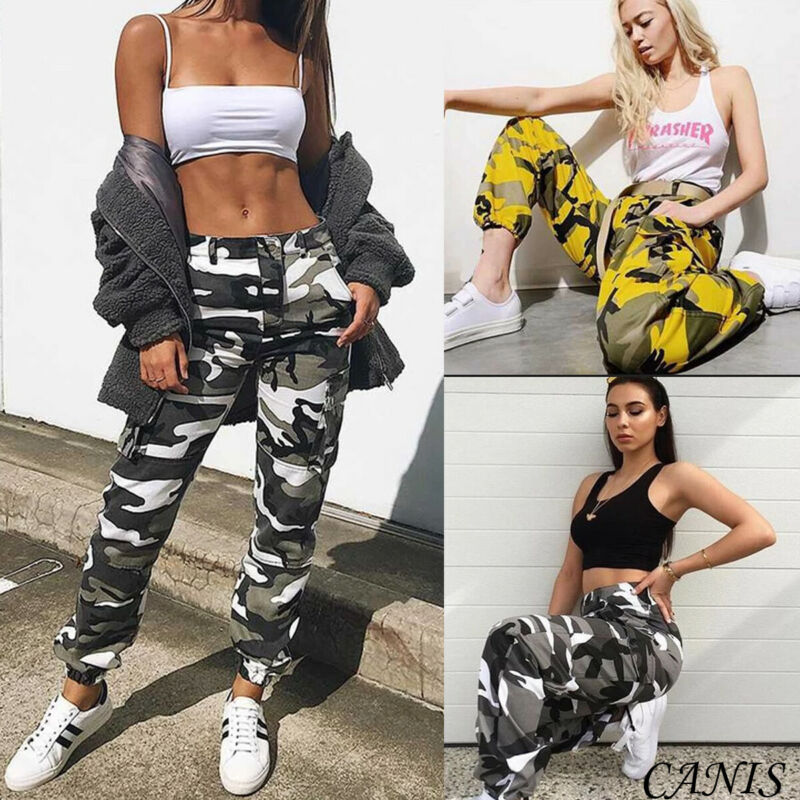 New Women's Skinny Camo Cargo Printed Clothes Tights Casual Trousers Pants Outdoor Military Army Combat Camouflage Sports