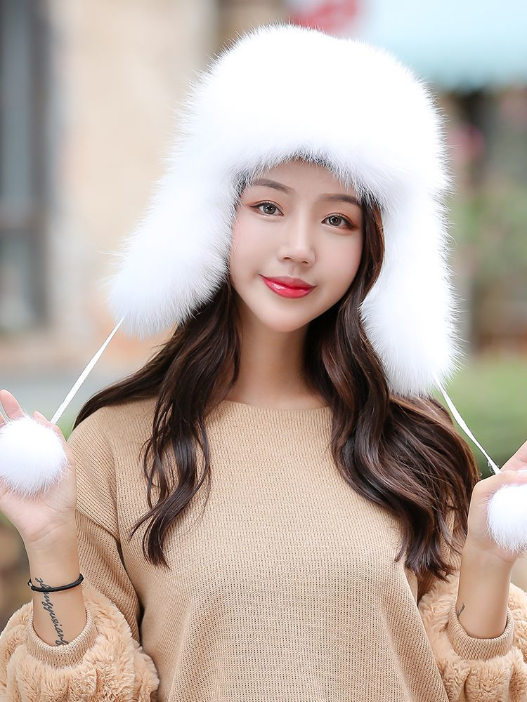 100% Real Fox Fur Women's Russian Ushanka Aviator Trapper Snow Skiing Hat Caps Earflap Winter Raccoon Fur Bomber Hat
