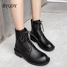 BYQDY Chunky Heels Boots For Women Autumn Sexy Round Toe Lace-up Casual Ankle Girls Zipper Comfortable