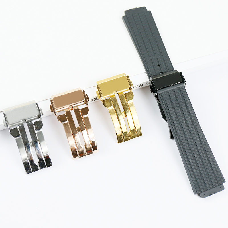 Watch Accessories Rubber Strap For HUBLOT Big Explosion Series 25*19*22mm Folding Buckle Woven Pattern Silicone Men Sports Strap