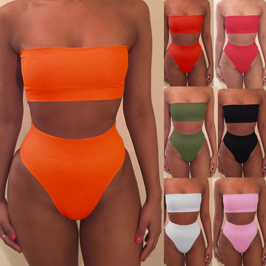Women Sexy  Bikini  Set Off Shoulder Wrapped Chest Solid Bandage Push Up No Pad Swimwear Swimsuit Beachwear Pluz Size