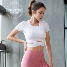 Women Seamless Long Sleeve Crop Tops Yoga Shirts with Thumb Hole Running Fitness Workout Seamless Top Shirts Pink White Tee(China)