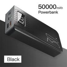 Banco de potência grande capacidade 50000mah carregador portátil ao ar livre display digital led iluminação para xiaomi sansung iphone