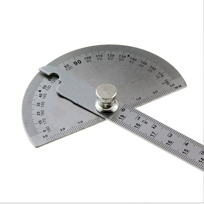 Metal Ruler 14cm for Student 180 Protractor Stainless Steel Drawing Template Tool School Stationery
