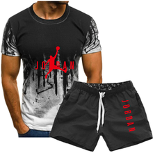 2021 new men's suit T-shirt + shorts two-piece casual sportswear men's suit printed top + pants gym fitness shorts